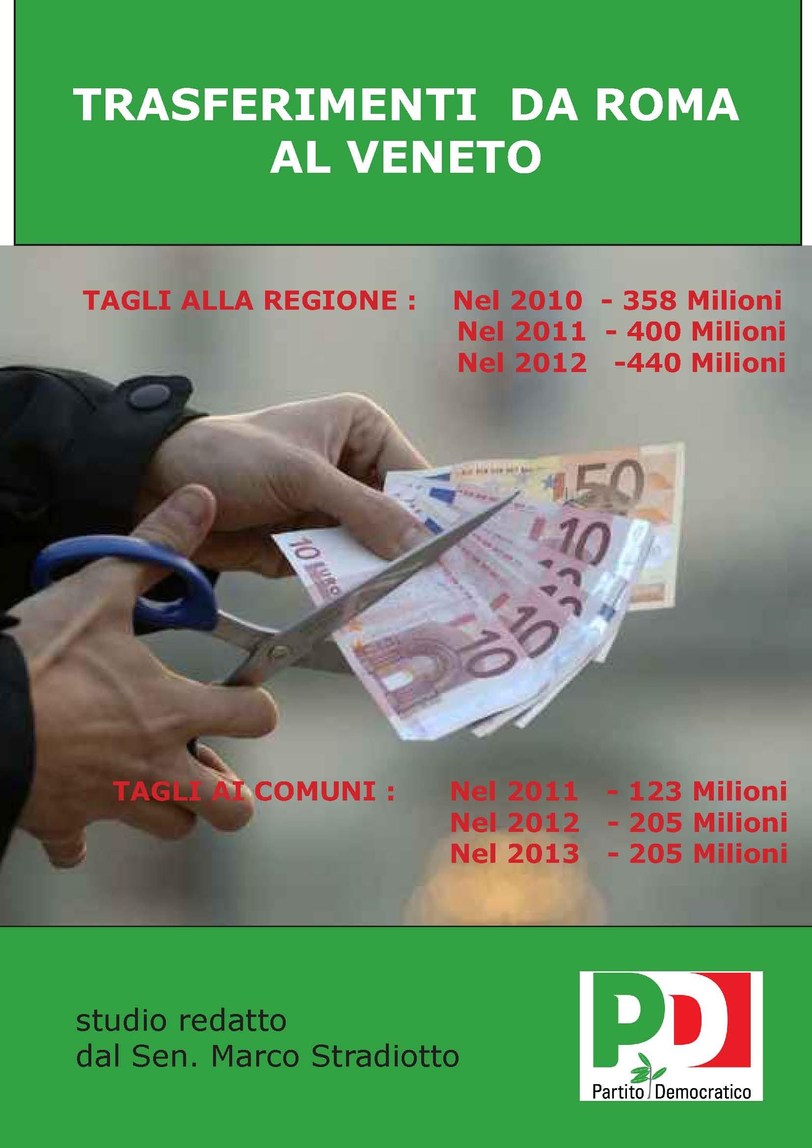 I tagli ai Comuni del Veneto con popolazione superiore ai 5000 abitanti