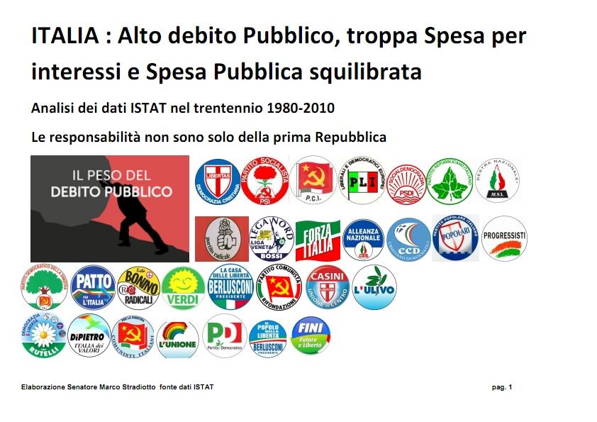 """TOGLIAMO L'ALIBI : SE I CONTI VANNO MALE LE COLPE NON SONO SOLO DELLA """"PRIMA REPUBBLICA"""""""