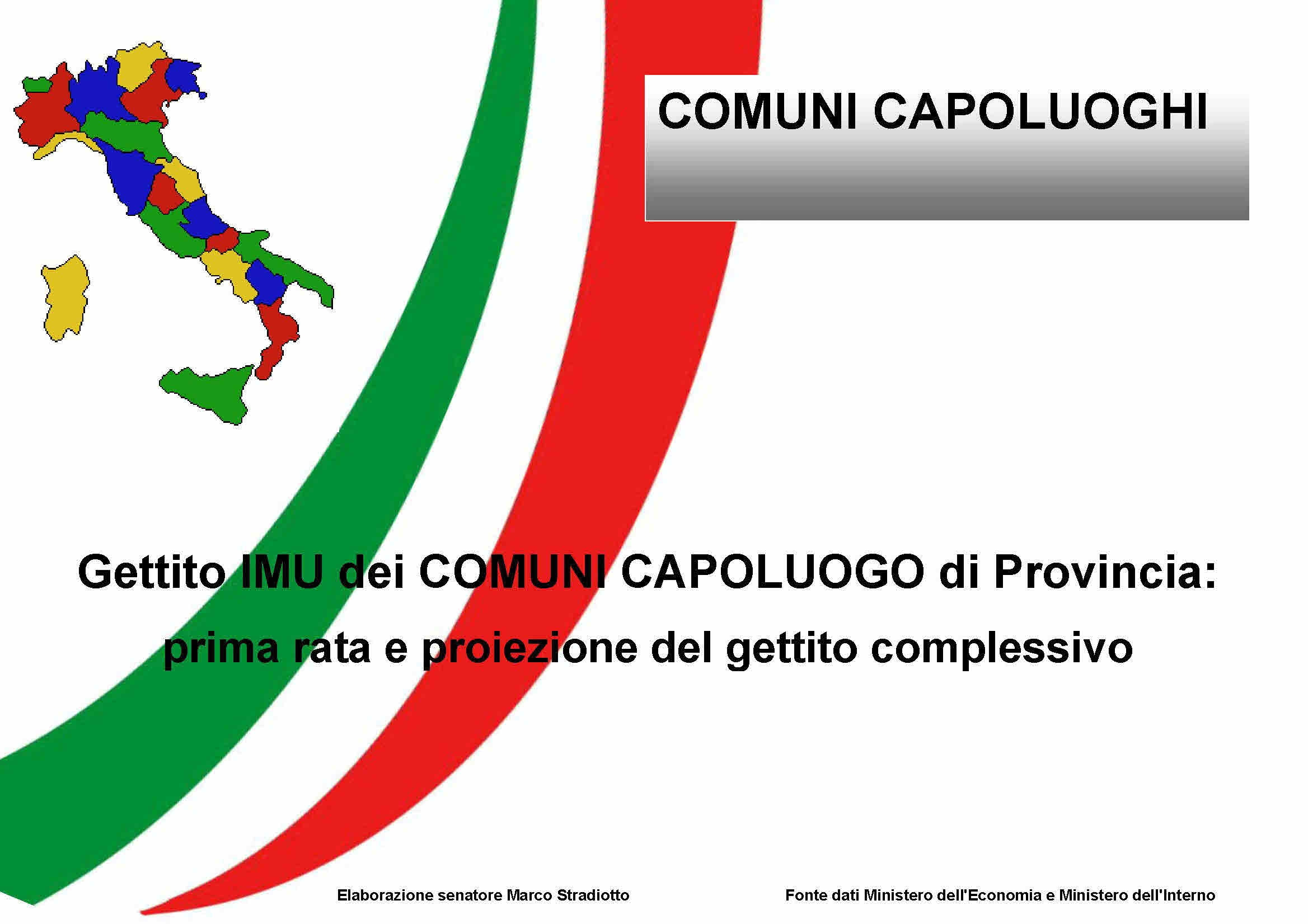 Gettito IMU nei comuni capoluogo di Provincia: i dati della prima rata e le proiezioni del gettito 2012