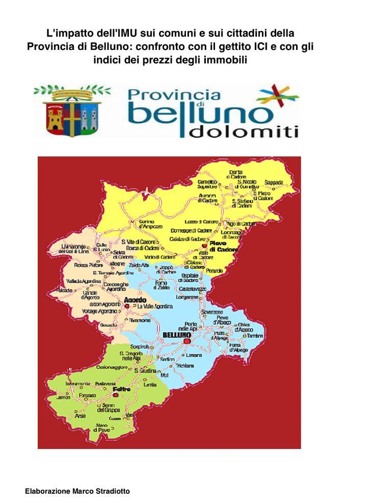 Il gettito IMU nei Comuni della Provincia di Belluno: confronto con il gettito ICI e con i valori OMI