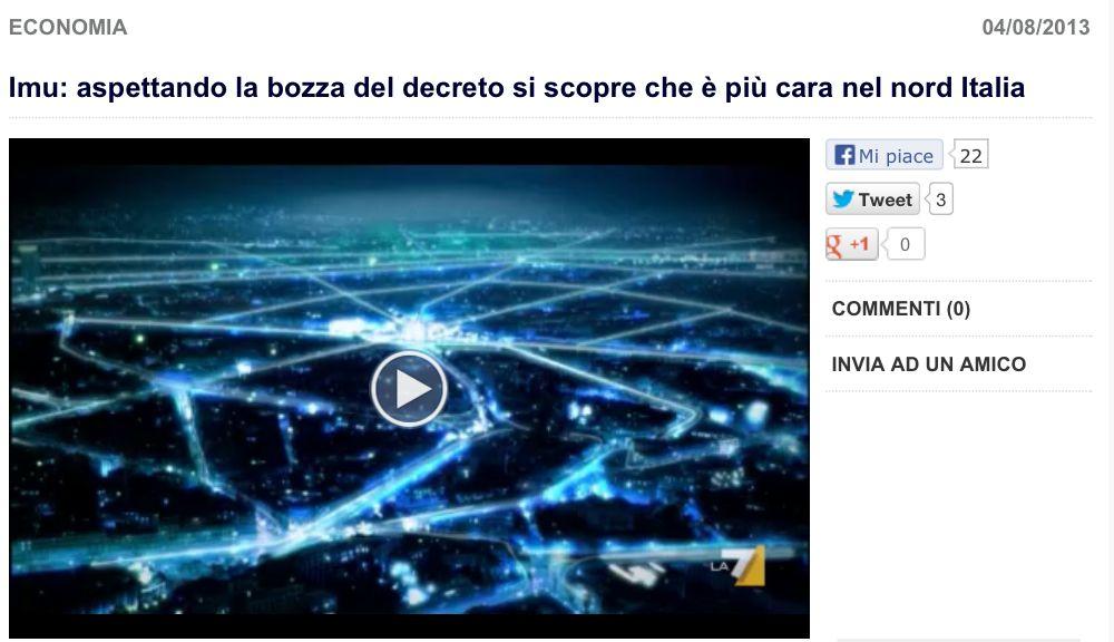 """Servizio sul TG La7 in merito al Dossier """"IMU-ICI"""""""